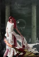 Red beauty with her fire Dragon by annemaria48