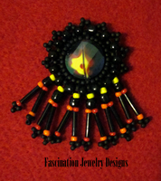 Beaded Fire Pendant by BloodRed-Orchid