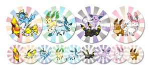 Eevee and Friends Buttons by juugatsuhoshi