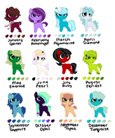 Birthstone Pony Adopts (closed) by perfectnesspony