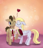 Derpy Kissing Doctor Whooves by dannylim86