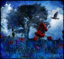 Tree and Poppies by struckdumb