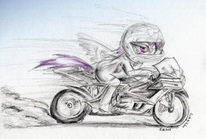 Scootaloo with her new gift (future) by FushigiOoka