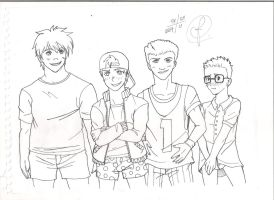 Recess Pantsless Boys (Lineart) - Request by Jujubesca