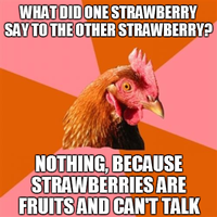 Anti Joke Chicken - Strawberries by INF3CT3D-D3M0N