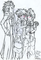 Axel, Sora and Roxas by SlaveMasterSeth