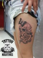 Skull and rose memorial tattoo by nil8er