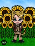 Hetalia: kitty!Alfred with Sunflowers by NanaFay