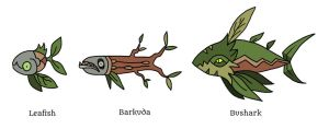 Leafish, Barkuda, and Bushark by Pseudolonewolf