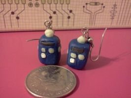 Tardis Earrings by Rainbow-Lizzard