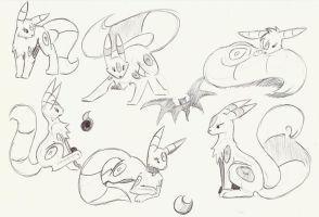 Umbreon Sketches by CelestialTentails