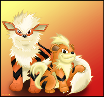 Growlithe and Arcanine by Ninjendo