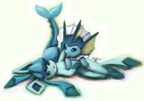 Glaceon + Vaporeon by yiuu