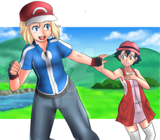Ash X Serena Costume swap by Rezuban