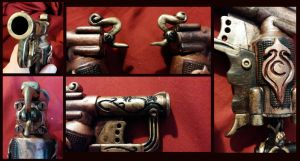 Steampunk Bonnie and Clyde - Derringer Details by Goomba-Squad
