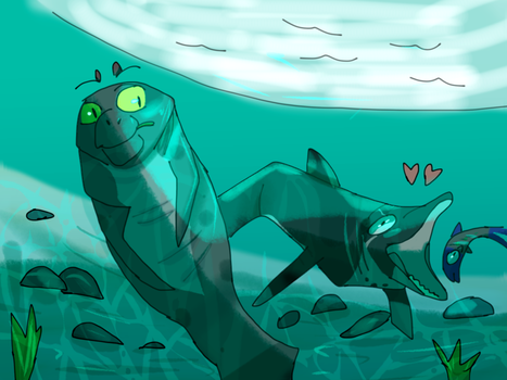 (Collab) EBC---Manatee and dolphin by Marietsloth