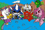 ALICOR PSYCHO PIE AND FRIENDS AT A HOT SPRINGS by by DEVIOUS-DISCORD-RP