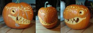 Senor Rage Face the Dinosaur Pumpkin by VP-Land-of-La