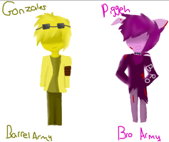 Bro and Barrel army outfits by Ask-Piggeh