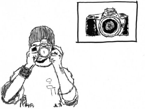 portrait with camera line art by mikehillartworks