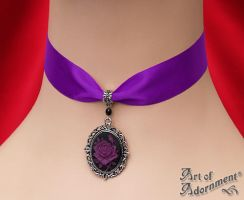 Gothic Rose Cameo Purple Satin Choker by ArtOfAdornment