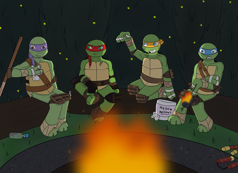 TMNT: Camping by MissPunnyPuns