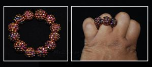 Hand Beaded Ring 5 by Me2Smart4U