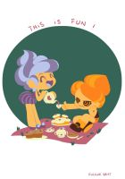 Tea Time with breakfast heroes by nounouille