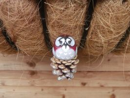SOLD Handmade hanging christmas owl decoration by MyselfMasked