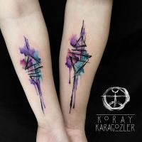 Geometric Abstract Couple Tattoo by koraykaragozler
