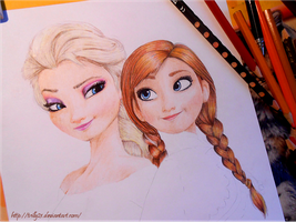 WIP #2 - Elsa and Anna by Trilly21