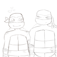 Mikey and Raph Sketch by animeloverFTW