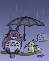TOTORO meets PIKACHU by TheCuddlyKoalaWhale