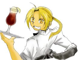 Edward Elric Waiter by AtomicRamenEater