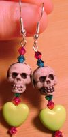 Heart and Skull Earrings Green by Ms-Mordant