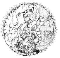 crazy tiger vs. Dragon by Anarchpeace