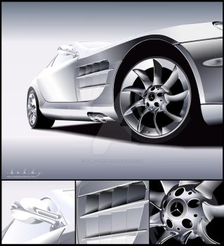 Mercedes SLR Vector Portrait by Bobby-Sandhu