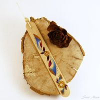 Sold - Bookmark Wood Pyrography Hand Painted blu by SuniMam