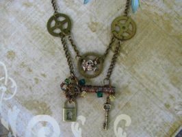 Steampunk Necklace Wire Key by bcainspirations