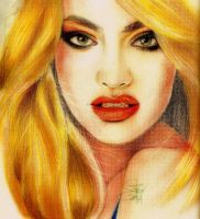 candice swanepoel  color pencil drawing by nakedcrayon23