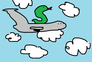 A snake is on a plane by Kirby-Force