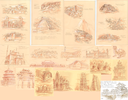 Sketches of world architecture by EiliEnie