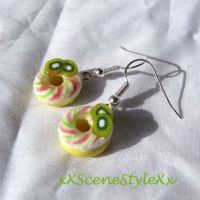 Kiwi Donut Earrings by xXSceneStyleXx