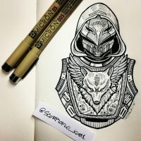 Hunter with Celestial Nighthawk and Alpha Lupi by KobOneArt