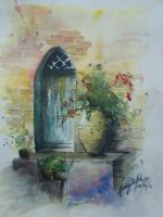 A door and a vase by SalbiyahRahmat