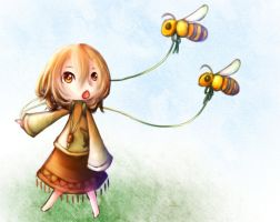 a girl  and bees by saTen0w0