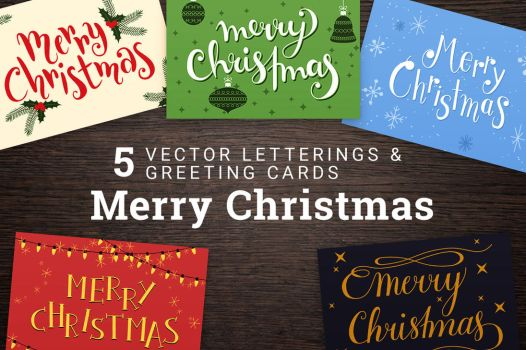 FOR SALE - 5 Merry Christmas Cards and Lettering by pica-ae