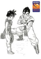 Videl and Gohan dragonball 30th anniversary by bloodsplach