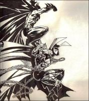 spawn vs batman by spennybear