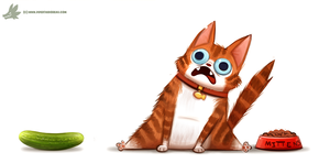 Daily Paint #1095. Cats VS. Cucumbers by Cryptid-Creations